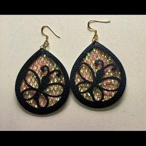Faux Leather Butterfly Earrings